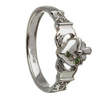 Sterling Silver Ladies White & Green CZ's Puffed Heart Claddagh Ring