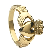 10k Yellow Gold No.5 Style Heavy Men's Claddagh Ring 14mm