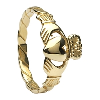 10k Yellow Gold Twist Shank Ladies Claddagh Ring 10.3mm