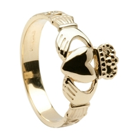 14k Yellow Gold Men's Celtic Rope Claddagh Ring 11mm