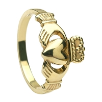 10k Yellow Gold Heavy Small Claddagh Ring 10mm