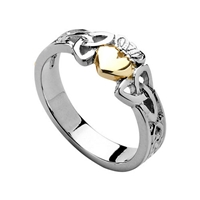 Sterling Silver 10k Gold Heart Ladies Trinity Knot Claddagh Ring 7.6mm