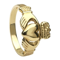 10k Yellow Gold No.3 Style Heavy Ladies Claddagh Ring 13mm