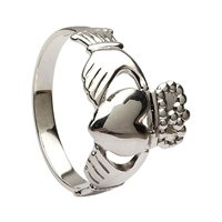 10k White Gold No.5 Style Medium Men's Claddagh Ring 14mm