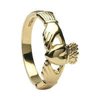 10k Yellow Gold Heavy Small Claddagh Ring 10.2mm