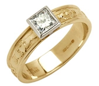 14k Yellow Gold Ladies Solitaire Diamond Claddagh Ring