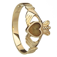 14k Yellow Gold Connemara Marble Heart Ladies Claddagh Ring 10mm
