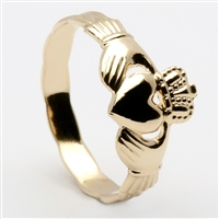 14k Yellow Gold Small Claddagh Ring 8.7mm
