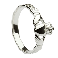 Sterling Silver Braided Shank Small Claddagh Ring 8.7mm