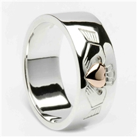 Sterling Silver Ladies Claddagh Ring With a 10k Rose Gold Heart 8mm