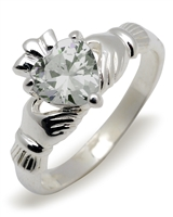 Sterling Silver Synthetic Cubic Zirconia (Apr) Birthstone Claddagh Ring 9mm