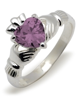 Sterling Silver Synthetic Alexandrite (Jun) Birthstone Claddagh Ring 9mm