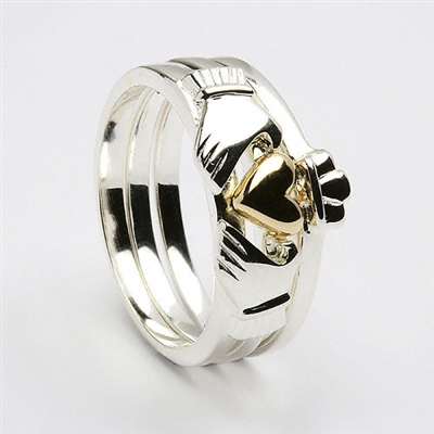 Sterling Silver 3 Part Ladies Claddagh Ring & 10k Yellow Gold Plated Heart