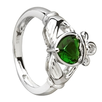 Sterling Silver Green CZ Ladies Claddagh Ring