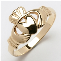 10k Yellow Gold Heavy Small Claddagh Ring 10.5mm