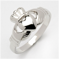 14k White Gold Heavy Small Claddagh Ring 10.5mm