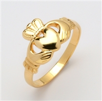 14k Yellow Gold Traditional Men's Claddagh Ring