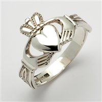 Sterling Silver Men's Claddagh Ring With Trinity Knot Cuffs 14mm