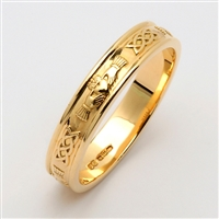 14k Yellow Gold Men's Narrow Claddagh Wedding Ring 4.6mm