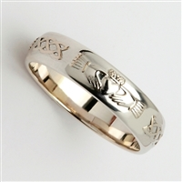 14k White Gold Ladies Celtic Claddagh Wedding Ring 4.5mm
