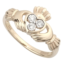 14k Yellow Gold Ladies 3 Stone Diamond Claddagh Ring 10mm