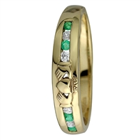 14k Yellow Gold Ladies Emerald & Diamond Eternity Claddagh Ring 4.5mm