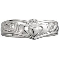 Sterling Silver Ladies Wishbone Claddagh Ring 8mm