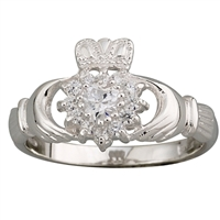 Sterling Silver Ladies C.Z. Cluster Claddagh Ring 10mm