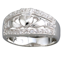 Sterling Silver Ladies Cubic Zirconia Wide Claddagh Ring