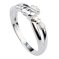 Sterling Silver Crossover Ladies Claddagh Ring 5.5mm