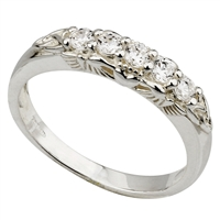 Sterling Silver With Crystals Claddagh Eternity Ring
