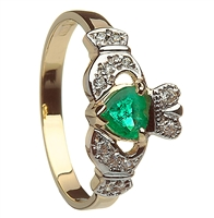 10k Yellow Gold Emerald Heart & CZ Ladies Claddagh Ring 11mm