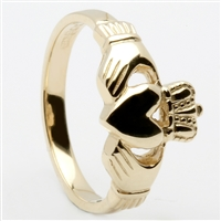 10k Yellow Gold Traditional Heavy Ladies Claddagh Ring 10mm