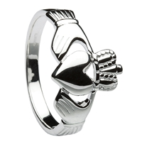 10K White Gold Traditional Heavy Men's Claddagh Ring 14mm