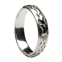 14k White Gold Men's Celtic Knot Claddagh Wedding Ring 5.7mm