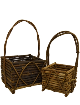 S/2 Square Wooden Log Baskets w/ Handles