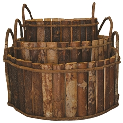 S/3 Large Wooden Round Baskets w/ Ear Handles