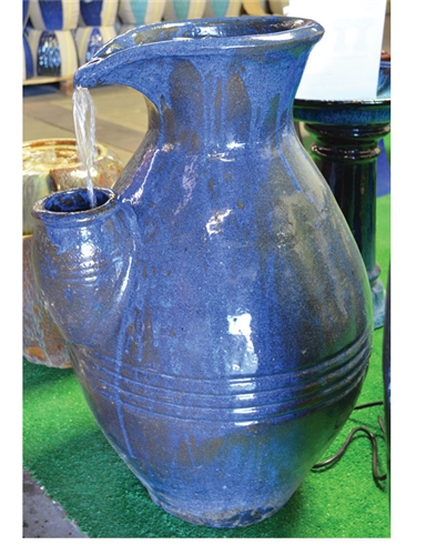 Self Contained Rustic Jar Water Feature   Blue