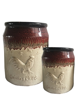 S/2 Country Living Rooster Jugs
