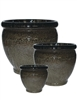 S/3 Round Textured Pots - Tropical Chocolate