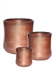 S/3 Tall Round Venus Pots - Saddle Red