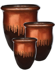 S/3 Tall Vase Planters - Saddle Red Over Espresso