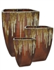S/3 Tall Parisian Square Planters - Cascade Copper