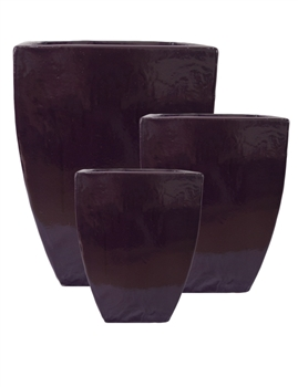 S/3 Tall Parisian Square Planters - Deep Purple