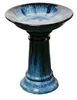 Large Glazed Birdbath w/ Locking Deep Top - Cascade Black