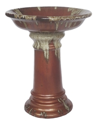 Large Glazed Birdbath w/ Locking Deep Top - Cascade Copper