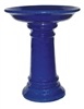 Large Glazed Birdbath w/ Locking Deep Top - Falling Blue