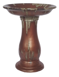 Large Glazed Birdbath w/ Locking Top - Cascade Copper