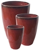 S/3 Tall Tubular Pots - Tropical Red