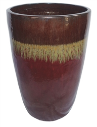 Single Extra Large Tall Tubular Pot - Golden Sand Over Oxblood Red